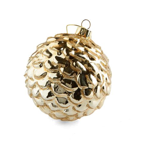 Light Gold Round Glass Ornament - Christmas Ornaments