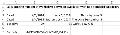 Calculate the number of days between two dates using Excel