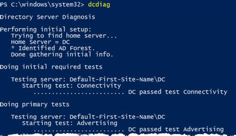 Use DcDiag with PowerShell to check domain controller